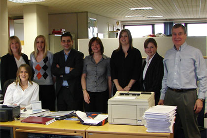 From left to right: Sally Coppen – I.T quality manager, Lianne Payne – systems analyst, Andy Koulle – webmaster/designer, Julie Staerck – I.T support analyst, Julia Turner – web administrator/analyst, Hannah Pearce – I.T support analyst, Rye Mills – data analyst and Nikki Hunt (Sitting) – Head of I.T.