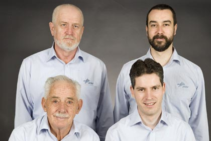 Clockwise from top left:  Zeljko Maurac, Chief Biomedical Engineer (responsible for the architecture and Software Infrastructure) - Steven Crossley, Senior Radiation Physicist (designer and programmer for the Radiation Physics Group) - Jonathan Stafford, Biomedical Engineer (main system architect and programmer), Alan Thomas, Biomedical Engineering Manager (Projects).