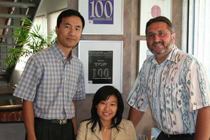 Left to right: Daniel Peng, senior system i programmer analyst, Clarin Wong, IMS-CRM project manager and Brian Hynes, VP information technology and business systems at HED