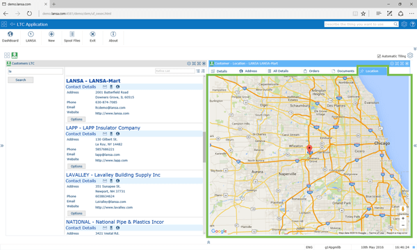 This map is a new component that adds new functionality that wasn't in the 5250 application
