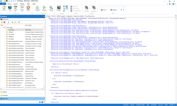 Visual LANSA is a productive visual IDE for developing web, Windows desktop, 5250, server-based applications, mobile web and modernization projects from in the same source code editor