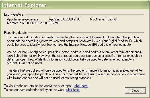 Internet Explorer error report