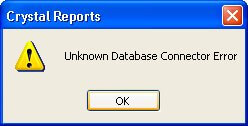 Error Message - Unkown Database Connector Error