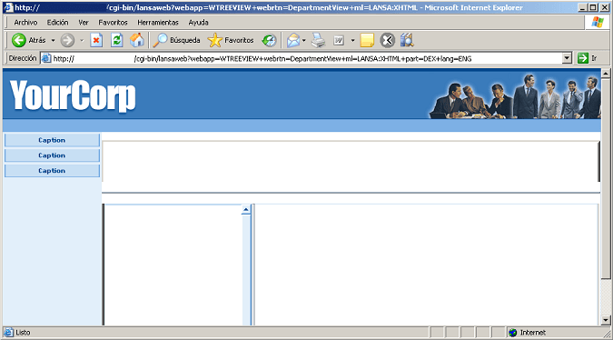 Example of the treeview Weblet not displayed in a WAM application