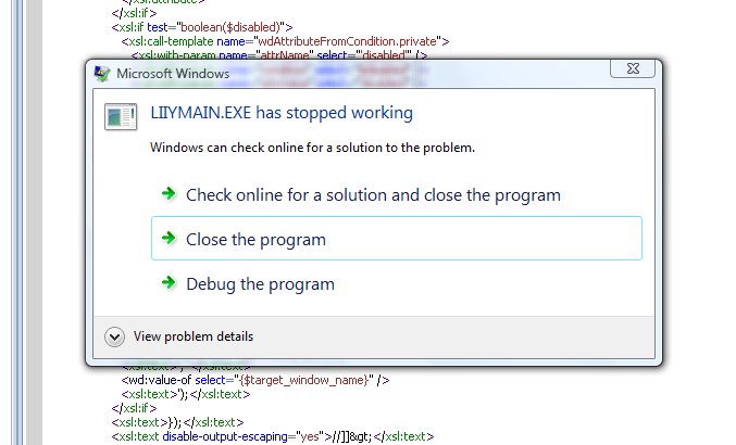 Example of error message