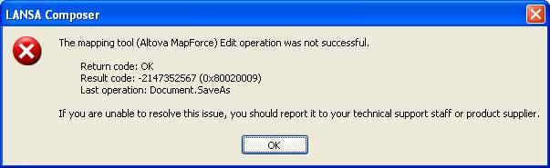 Document SaveAs error opening transformation map | LANSA