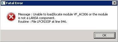 Message: Unable to load/locate module VF_AC006...
