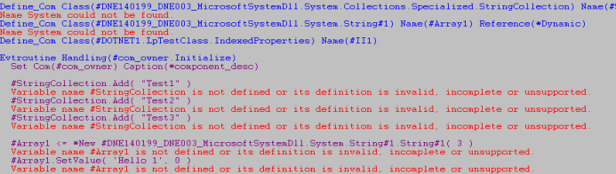 Examples of errors in a form that uses a .NET component