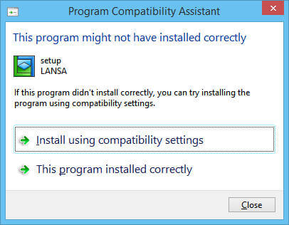 Program Compatibility Assistant message