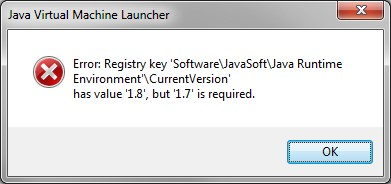 Example of Java Virtual Machine Launcher error message