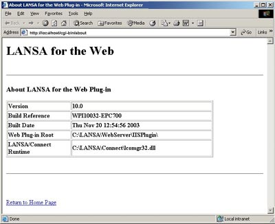 About LANSA for the Web Plug-in Screen