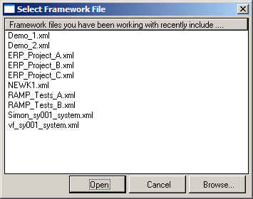 Select Framework File screen