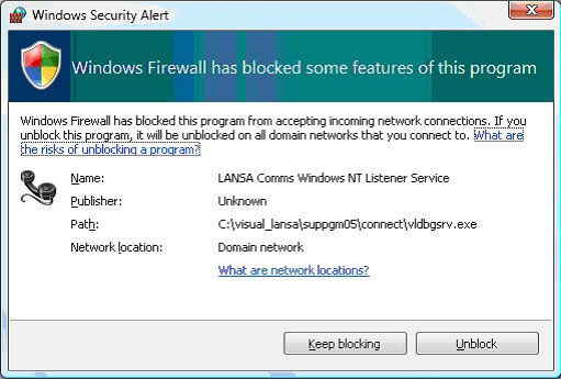 Windows Security Alert - Windows Firewall has blocked some features of this program