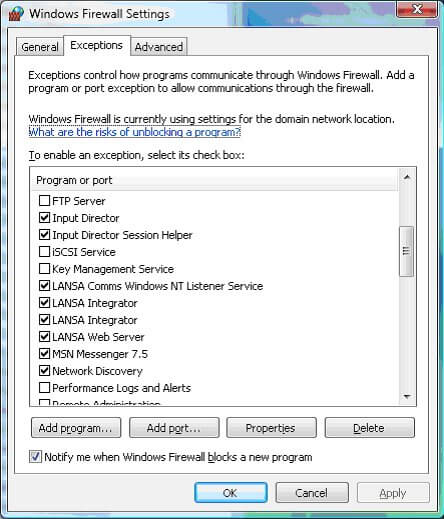 Add this program as an exception in the Windows Firewall