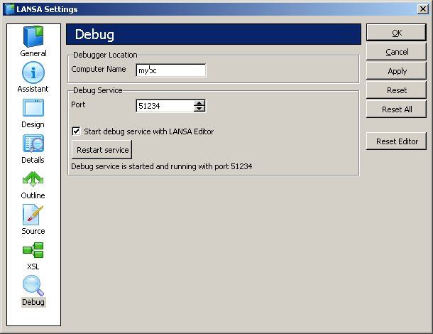Check your LANSA debug setting under the menu Options -> Settings -> Debug