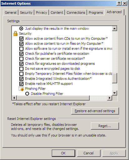 Internet Explorer Internet Options
