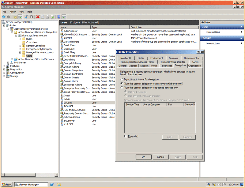 Screenshot showing the setting to enable trust specific domain user to any services