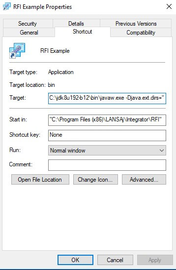 RFI Shortcut Properties