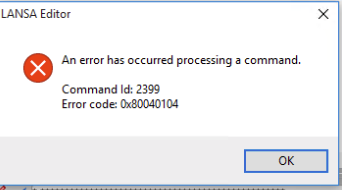An error has occured processing a command